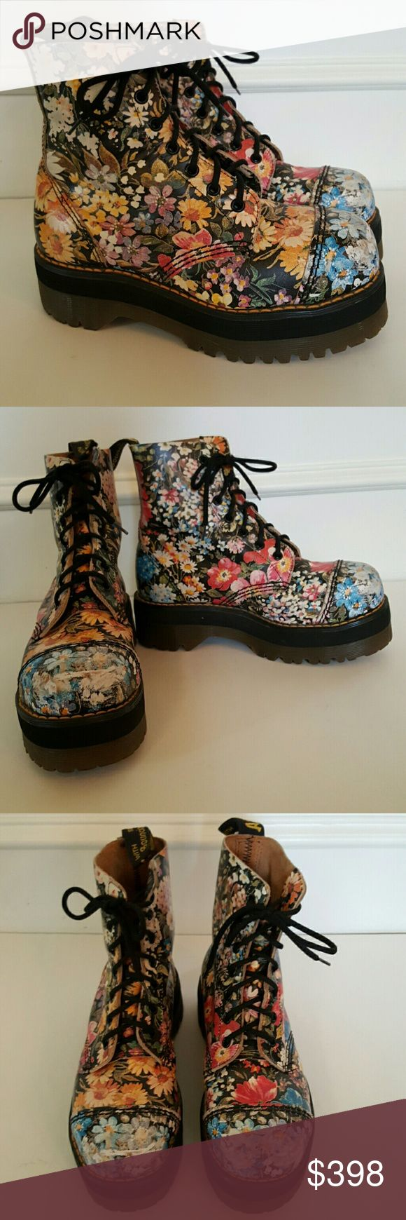 AH-MAZING! Dr. Martens Vintage Floral Combat Boots These are the like holy grail of Docs. These incredible vintage Made in England Dr. Martens are super-duper rare. The most sought after grunge floral print combined with a platform sole like the Agyness Deyn and Jadon styles. I believe they are steel toe as the toes are hard and dont flex. They are in excellent pre-owned condition. Just some scuffing and scratches on the tips of the toes which blur the floral pattern but mostly hasn't yet…