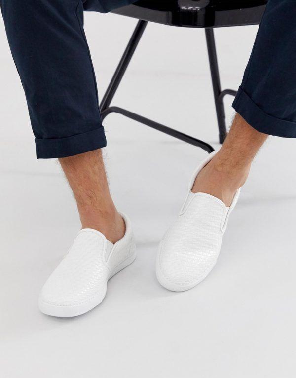 ASOS DESIGN Sneakers di tela bianche senza lacci Bianco