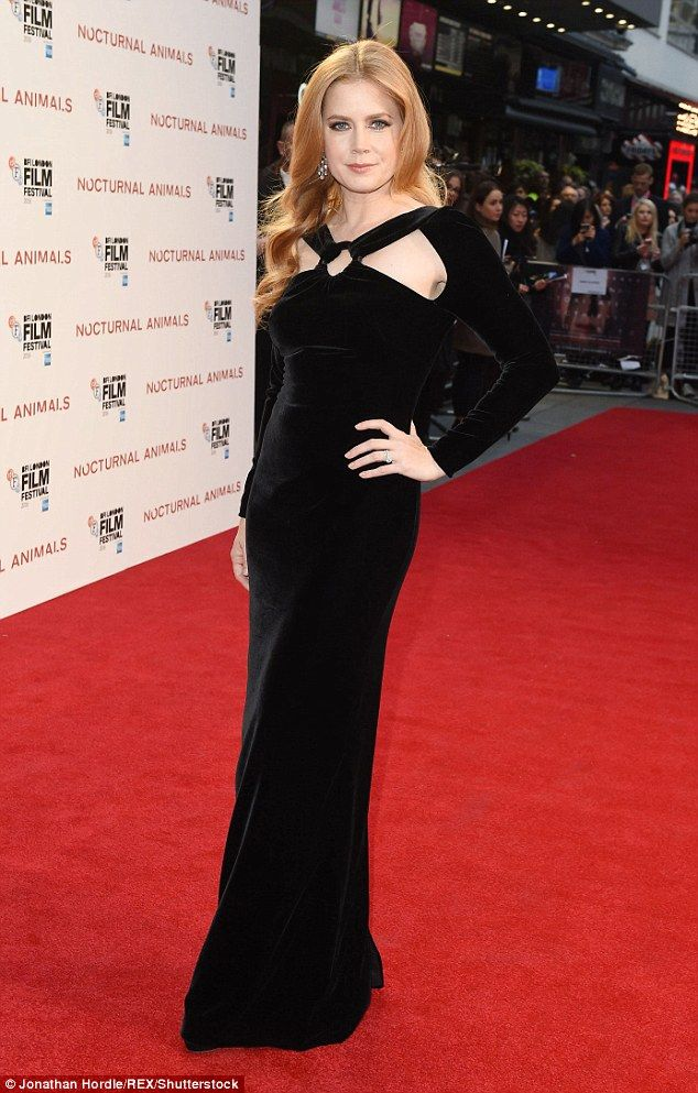 Sleek and sophisticated: Amy Adams looked stunnng in a floor-length velvet gown as she stepped out at the BFI Film Festival on Friday