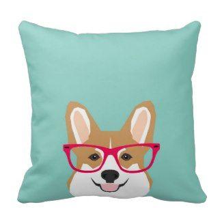 Corgi mit Brille  - Hipster Hund, niedliches Zierkissen