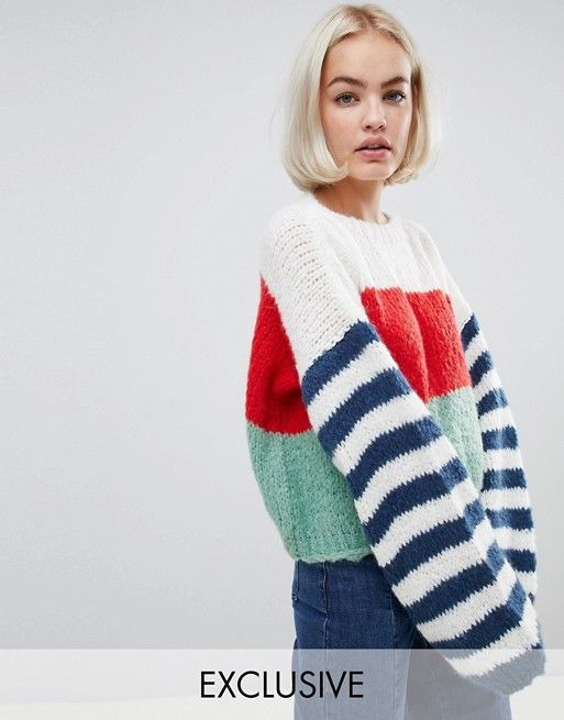 a605c666b40e7 OneOn hand knitted stripe sleeve sweater
