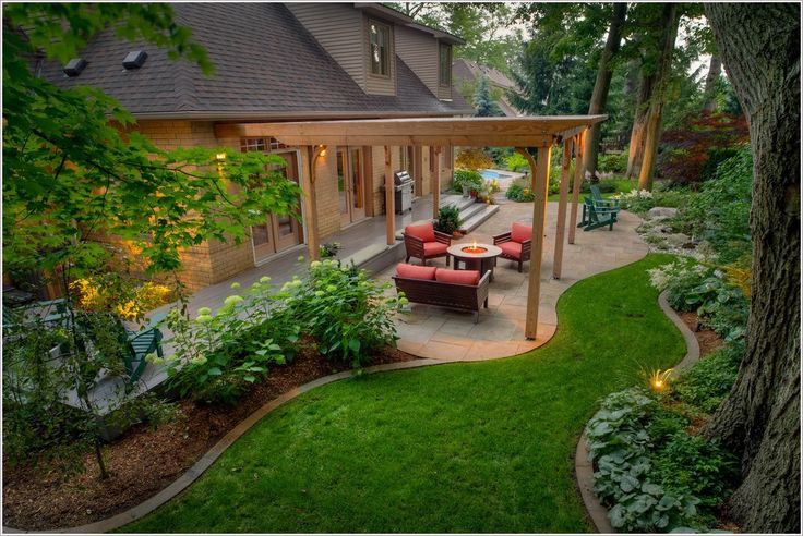 Landscape Traditional Toronto Adirondack chairs bark mulch BBQ circular covered entry covered grill curved dormer windows edging Exterior firepit flowers garden glass doors grass lawn outdoor sconce Patio pavers pergola  id-1121