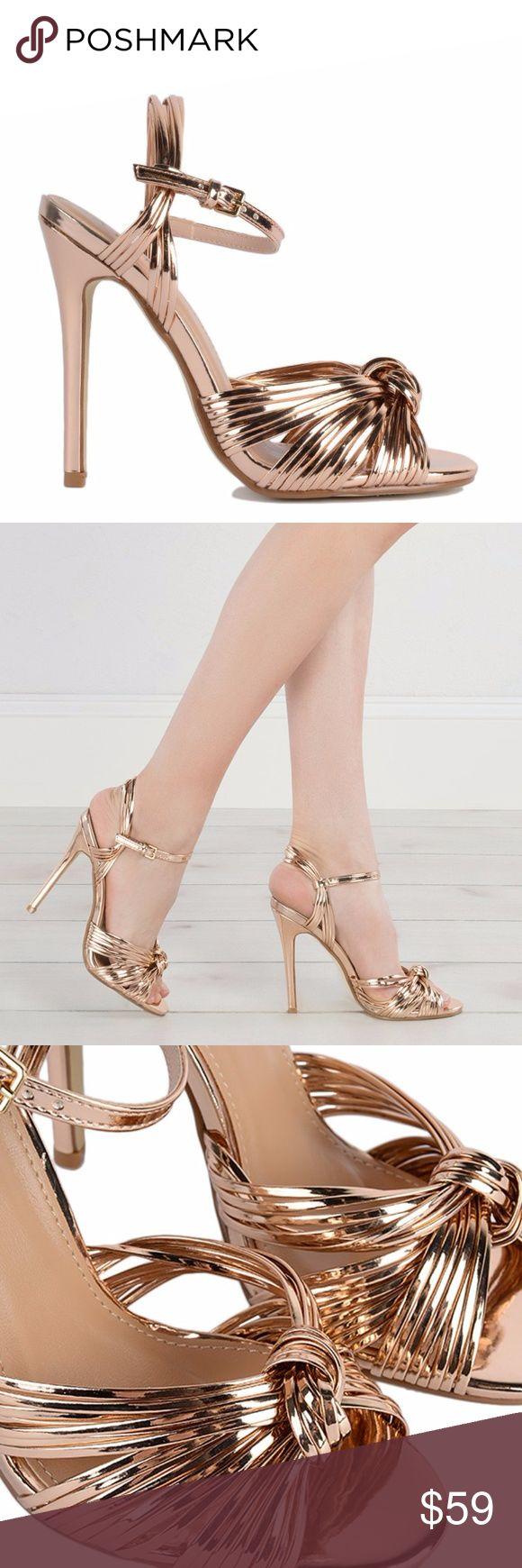 BNIB Strappy Stilleto Metallic Sandals Heels NIB Sexy Metallic Stilleto Heels in a rose/gold  pink champagne color. Shoes Heels
