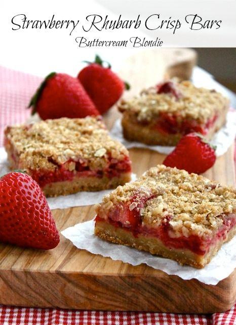 Strawberry Rhubarb Crisp Bars | ButtercreamBlondie.com