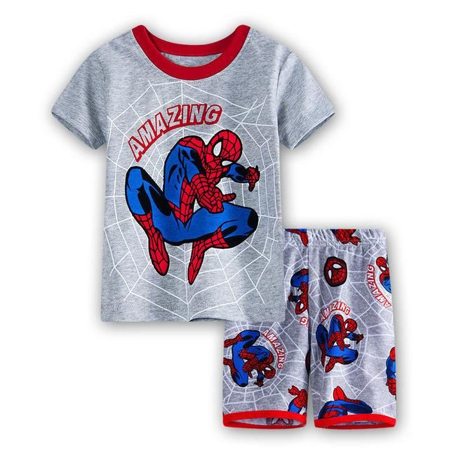 Baby Boys Clothing Sets 2017 New Spiderman Short Sleeve Shirt+Shorts 2pcs Suit For Kids Summer Outfits Clothes Cotton Pajamas