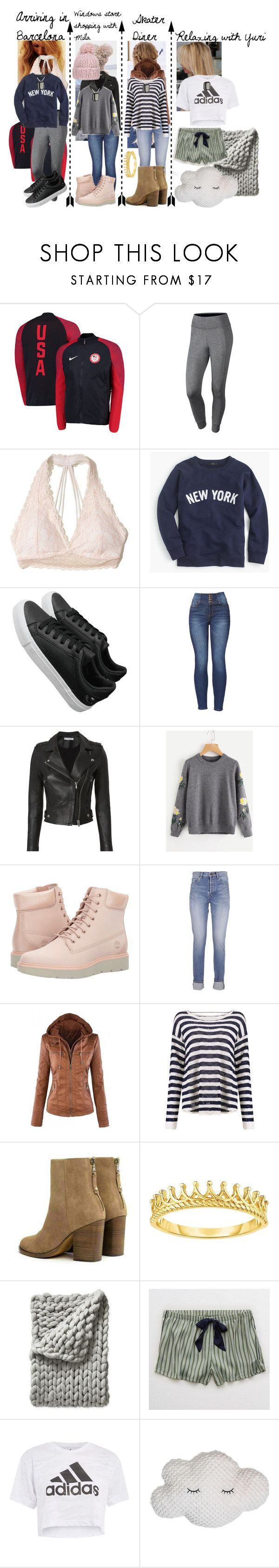 """""""Gotta Supercharge it! Pre-Grand Prix Final Special"""" by frootloop16 ❤ liked on Polyvore featuring NIKE, Hollister Co., J.Crew, IRO, Timberland, Yves Saint Laurent, rag & bone, Serena & Lily, Aerie and adidas"""