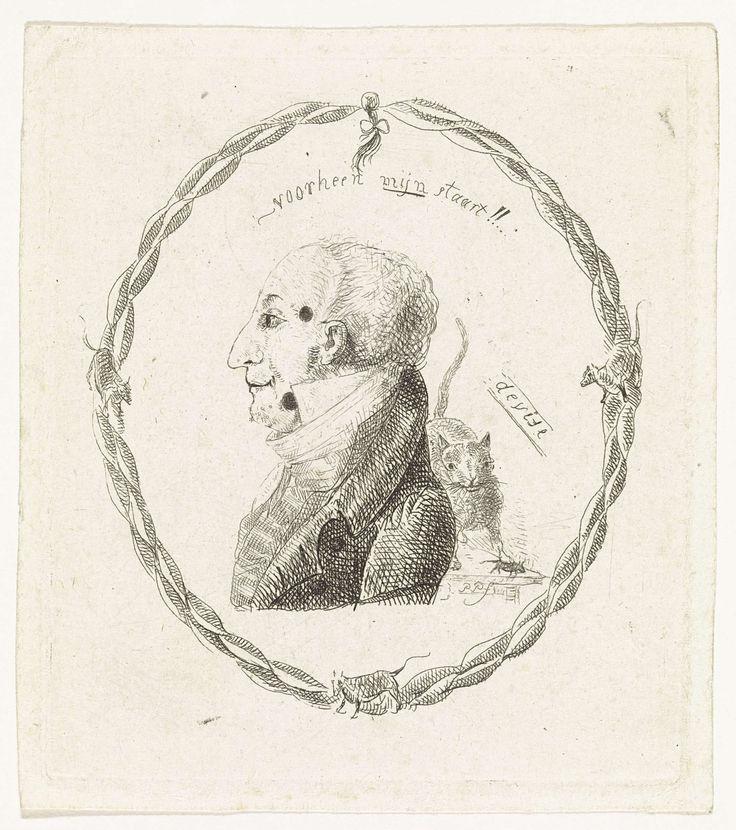 Paulus Charles Gerard Poelman | Portret van een man, Paulus Charles Gerard Poelman, 1803 - 1846 | Portret van een man met een hoge boord en twee moedervlekken in zijn gezicht. Op de achtergrond een kat en een muis op een tafel. Rond de voorstelling een haarvlecht met strik en enkele muizen. Boven een tekstregel in het Nederlands.