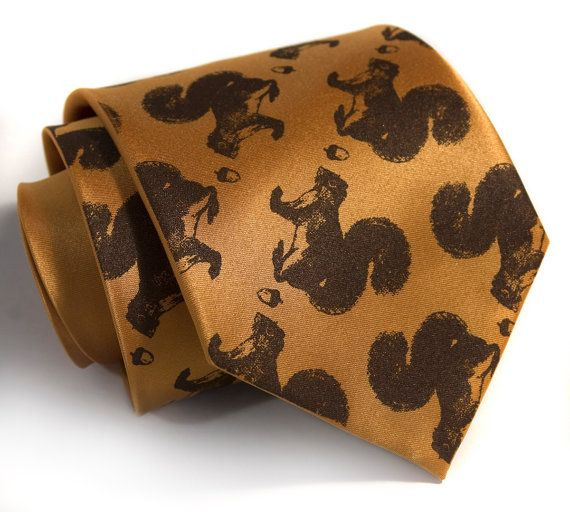 Secret Squirrel tie. Men's necktie. Chocolate brown squirrel & acorn screen print on mustard, pale gold and more. Microfiber. Chocolate brown by Cyberoptix, $30.00