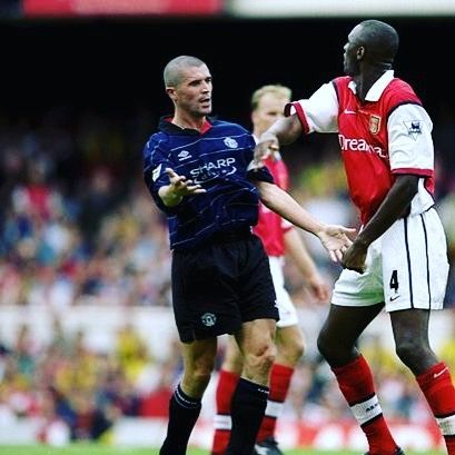 Patrick vieira and Roy Keane had the occasional battle in there time #vieira #patrickvieira #roykeane #arsenal #highbury #afc #mufc #manutd #manchesterunited #manunited #manutd #football #retro #retrofootball #vintage #vintagefootball #premierleague #premiership #soccer #90s #90sfootball