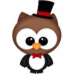 Silhouette Design Store: owl dressed as penguin pnc