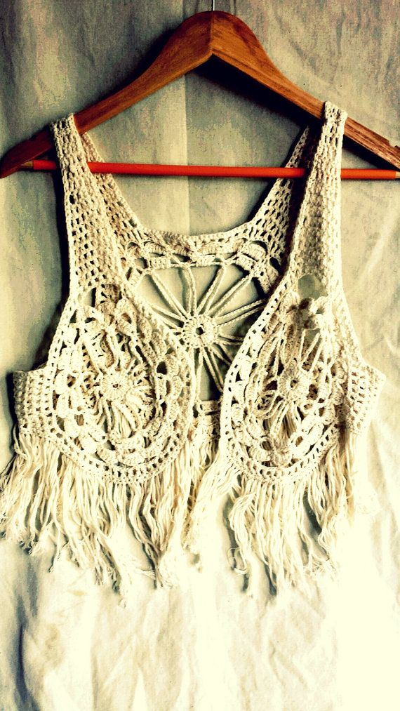 Boho crochet vest lace waistcoat festival por PoppyBlueCrochet