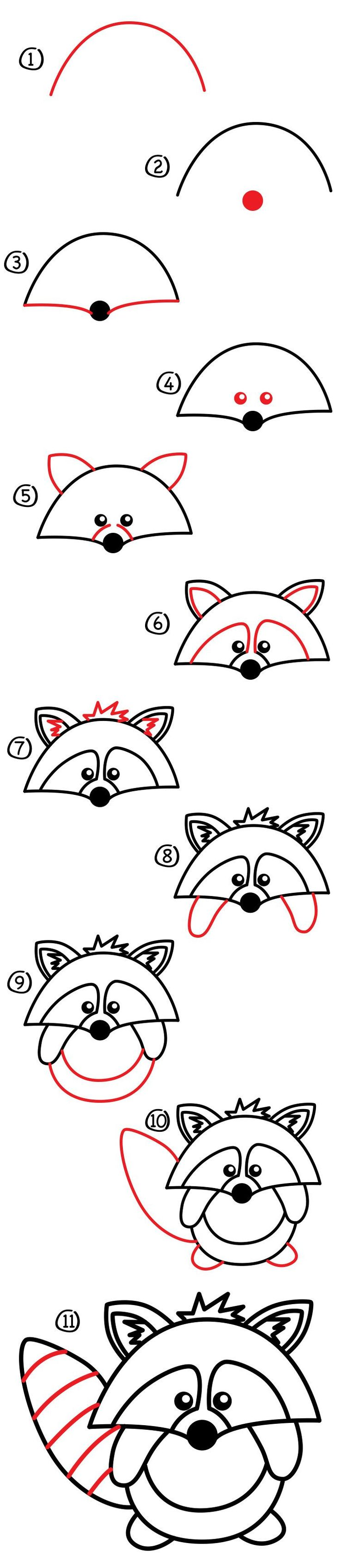 Here's a cute little guy, how to draw a raccoon! This one is easy, but still fun, even for those parents and teachers that like to draw along with their kids. Art Materials Pen, pencil, crayon, or marker Paper Watch How To Draw A Raccoon