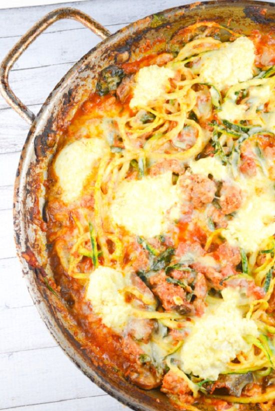 """Baked Ziti"" the #healthy way with zucchini noodles, ground turkey and low fat ricotta"