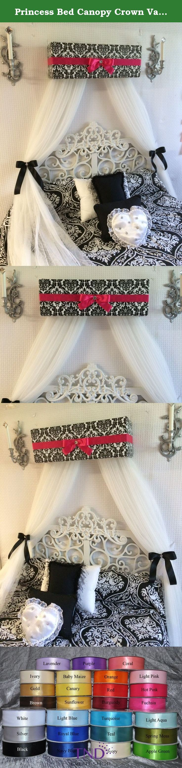 Crib for sale davao - Princess Bed Canopy Crown Valance French Paris Damask Pink Black Upholstered Teester Crib Cornice Free Sheers