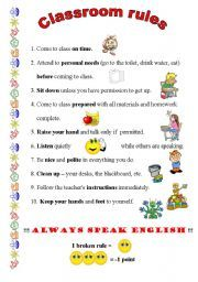 Worksheets Classroom Rules Worksheet classroom rules worksheet lesson 1 supplemental for commands english