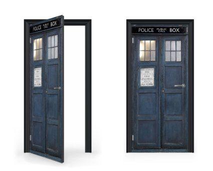 DoorWrap: Tardis Time Traveling Police Box Vinyl Sticker for Door / Bedroom / Home