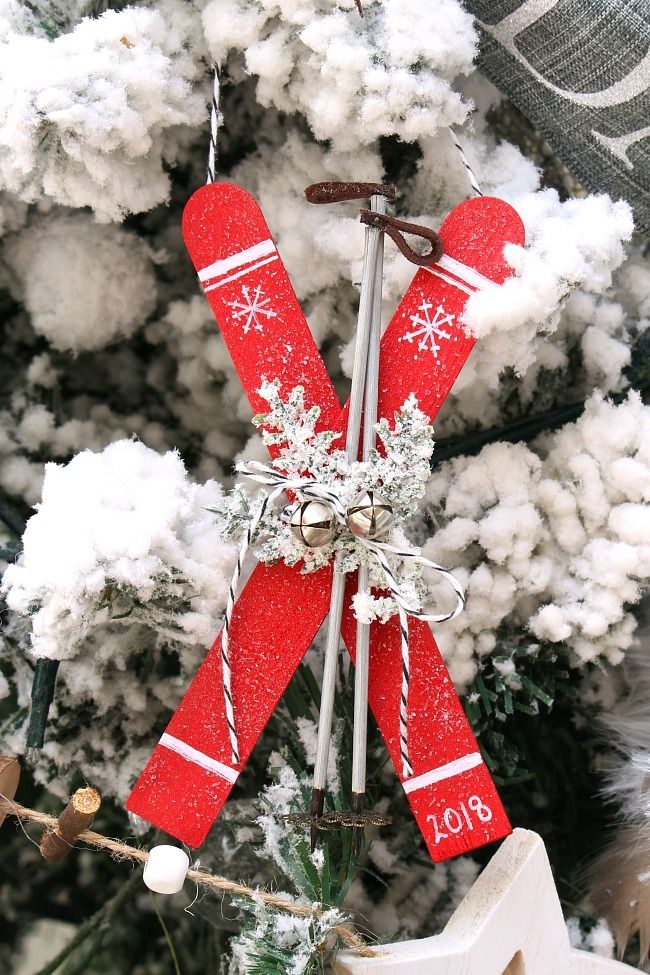 Popsicle Stick Skis Christmas Ornaments christmas crafts