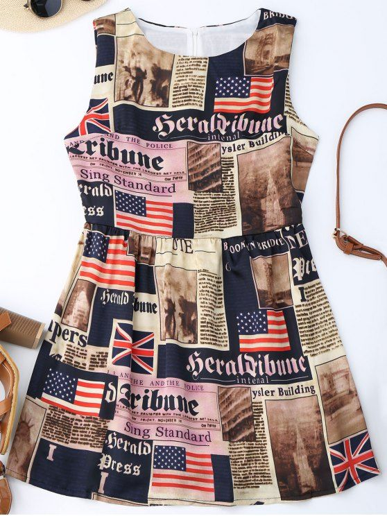 Sleeveless American Flag Patriotic Dress - COLORMIX M