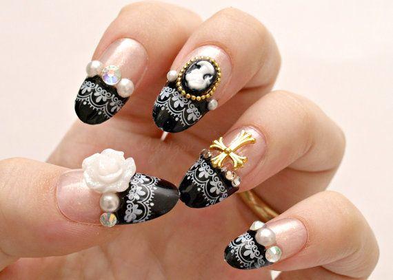 3D nails, gothic lolita, lolita nails, egl, Japanese nail art, press on nails, black french, cameo, rose, cross    Japanese handmade nail art by me