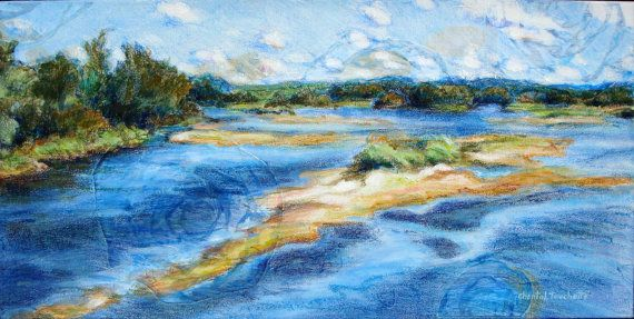 Landscape Painting Island Painting Water by artist Chantal Touchette from Atelier BeauVoir, 10x20, $560, click to see more enchanting landscape paintings! www.atelierbeauvoir.etsy.com