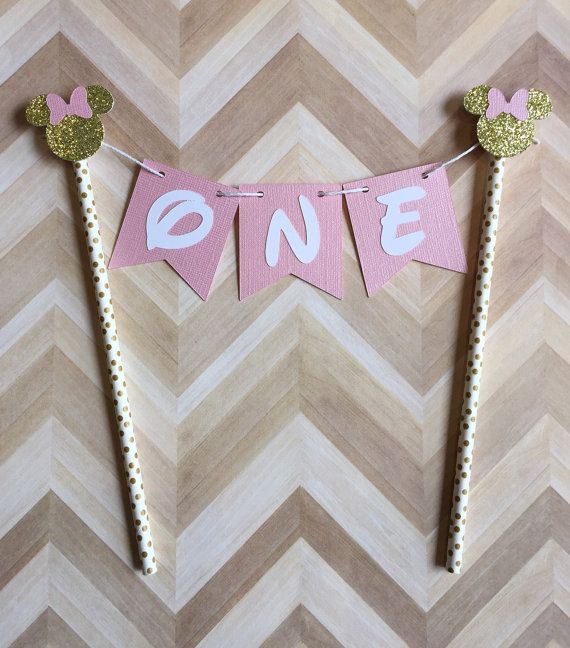 Minnie Mouse Gold and Pink Cake Topper Banner Cake by PhasesOfLove
