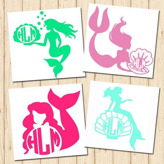 Monogrammed Mermaid Vinyl Decal Sticker 4 Designs To