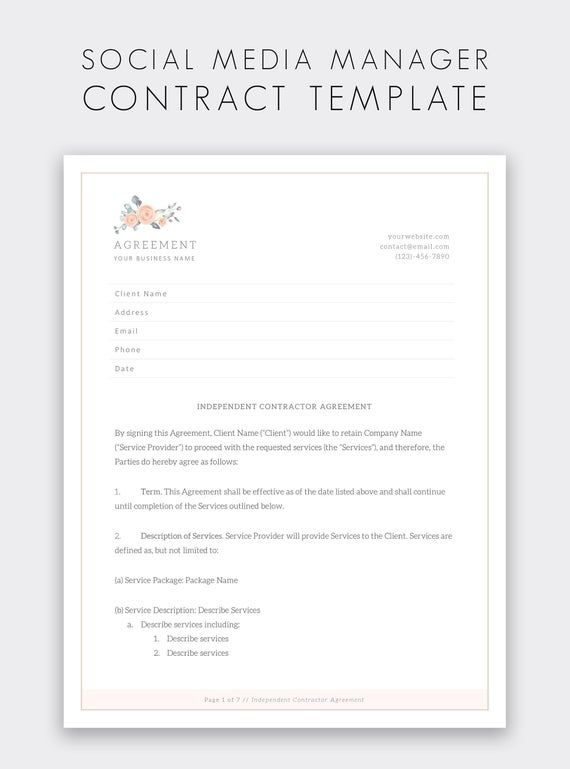 Social Media Manager Contract Template Freelance Social Media Manager Independent Con Freelance Social Media Social Media Marketing Services Contract Template