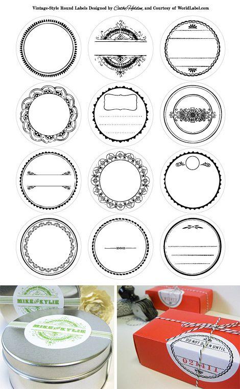Vintage Style Round Labels - Free PDF Printable in 6 Colorways.