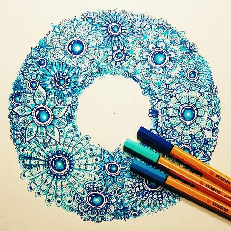 Mandala zentangle gem art