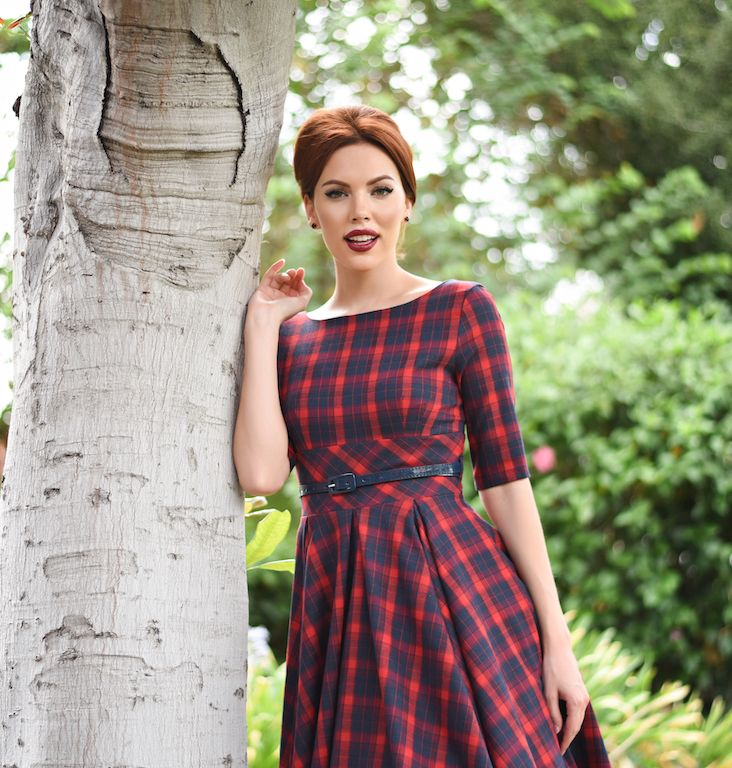Vintage Style Red & Navy Blue Tartan Plaid Half Sleeve Hepburn Swing Dress