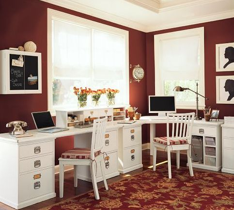 This is what I want for my office at home!  They used filing cabinets to get this final look.