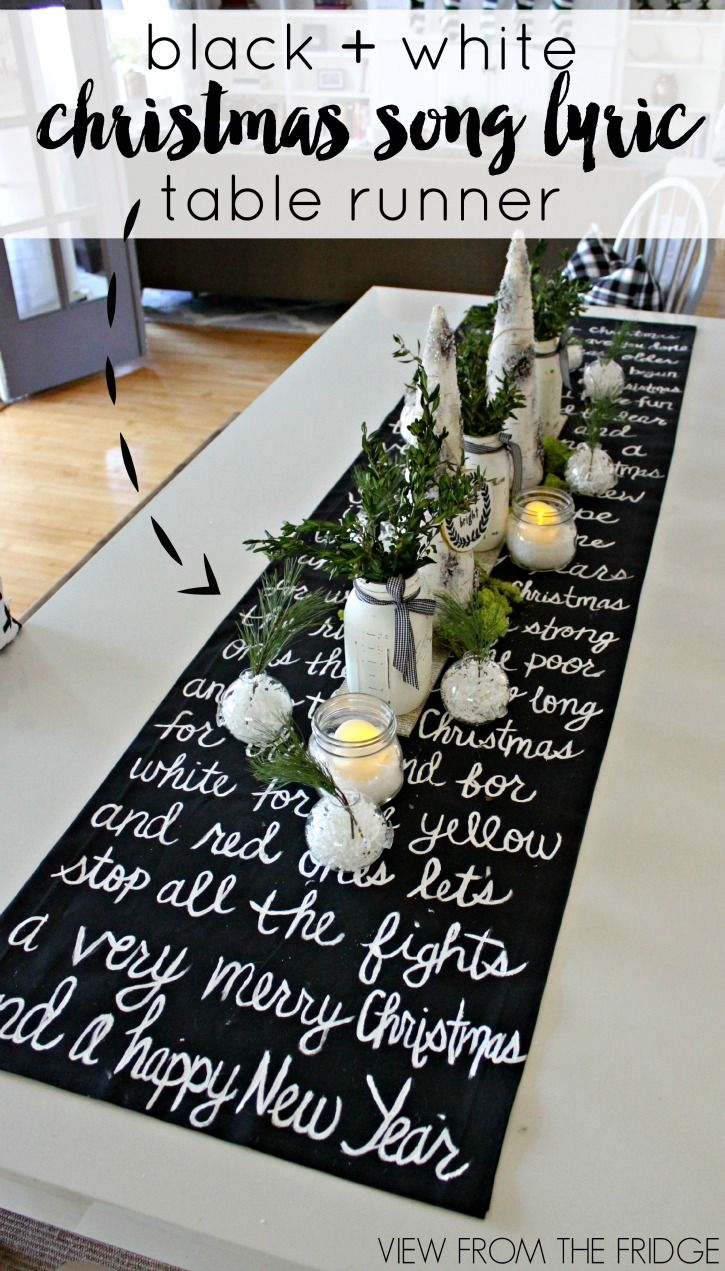 DIY Black and White Christmas Song Lyric Table Runner | View From The Fridge