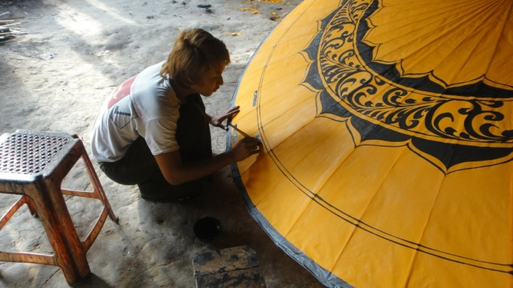 Hand made, hand painted parasols of Pathein,Myanmar