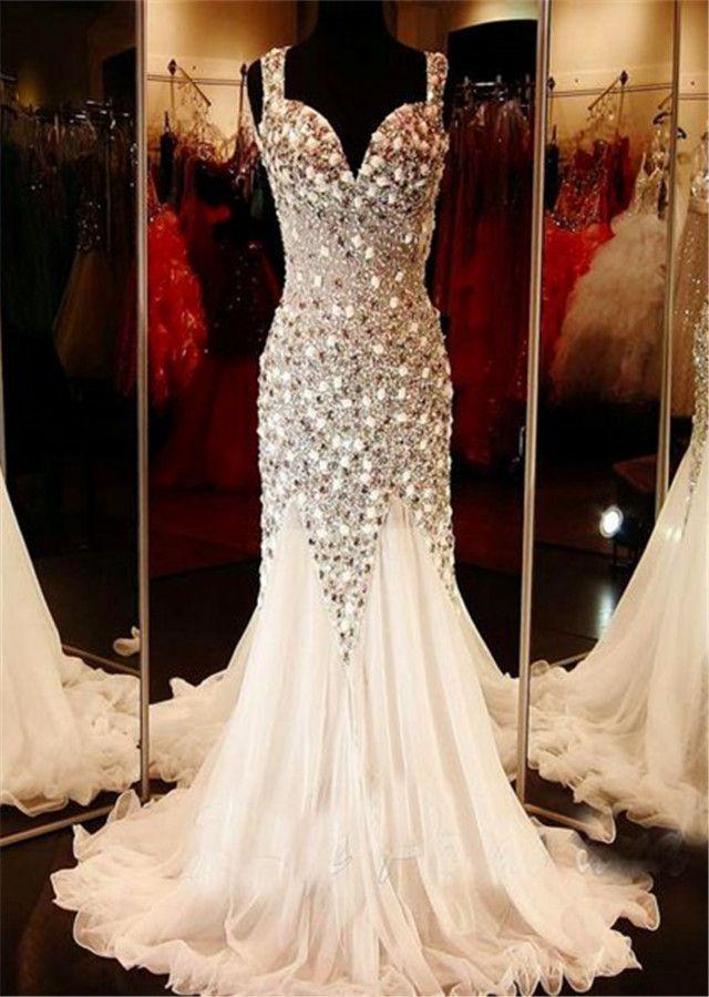 2017 Custom Gorgeous Mermaid Beaded Long Prom Dresses ,Backless Evening Dress