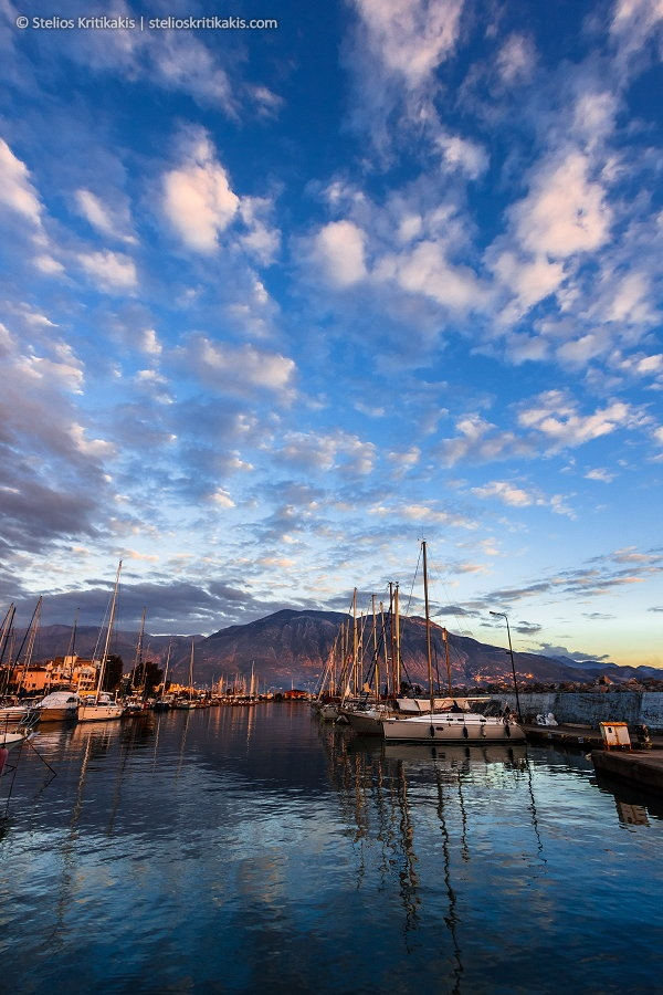 blue, boats, clouds, color, crystal, harbor, its_me, kalamata, marina, mountain, reflections, ships, sky, sunset, taygetos, water