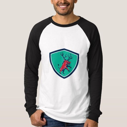 Razorback Antlers Prancing Crest Retro Shirt. Illustration of a wild pig boar razorback with antlers prancing viewed from front set inside crest shield on isolated background done in retro style. #Illustration #RazorbackAntlersPrancing