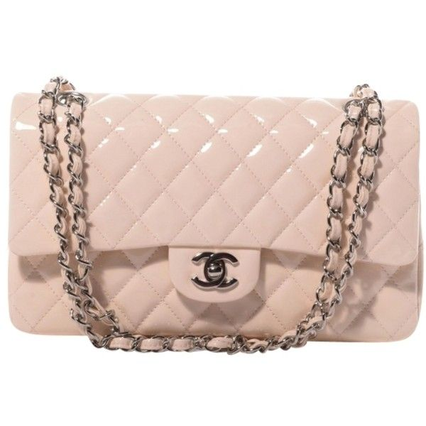 Pre-owned Chanel Patent Quilted Medium Double Flap Shoulder Bag ($2,990) ❤ liked on Polyvore featuring bags, handbags, shoulder bags, chanel, carteras, light pink, chanel handbags, evening purse, chanel shoulder bag and evening handbags