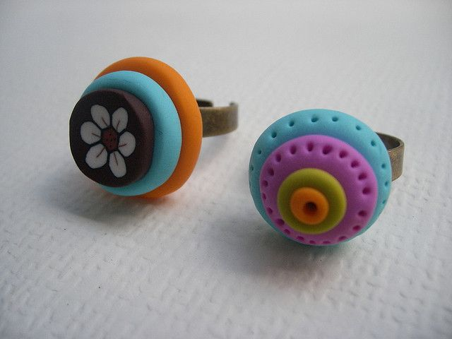 polymer clay   Colourfull Polymer Clay Rings   Flickr - Photo Sharing!