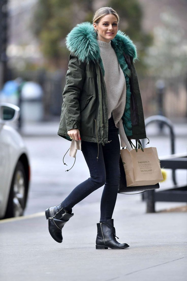 Olivia Palermo in a green jacket and black boots out in Brooklyn - March 2017