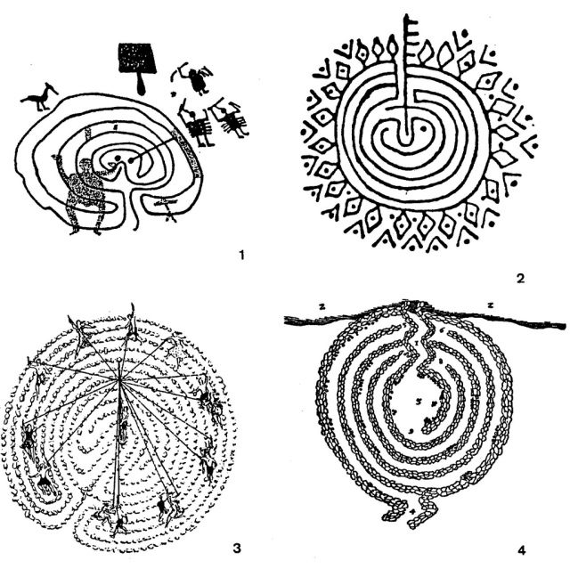 troja Fig. 450 – Labyrinths in a wide geographical distribution, with no direct relation to the Greek mythological story: 1. Val Camonica, Northern-Italy (HERBERGER, 1992); 2. Labyrinth in southern India (SANTARCANGELI, 1984); 3. Reconstruction of the crane-dance in the Trojaburg (stone labyrinth) (GEUDENS, 1986); 4. Scandinavian stone labyrinth (according to O. Rudbeck, 1695) (MATTHEWS, 1922).