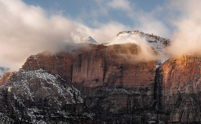 Snowy Rocks in Zion National Park | #desktop #wallpapers #DesktopWallpaper #nature #landscape #zion #nationalpark #snow #rock #mountains #clouds