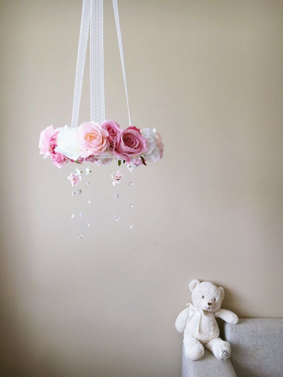Flower mobile with genuine Swarovski crystals by PaulettaStore