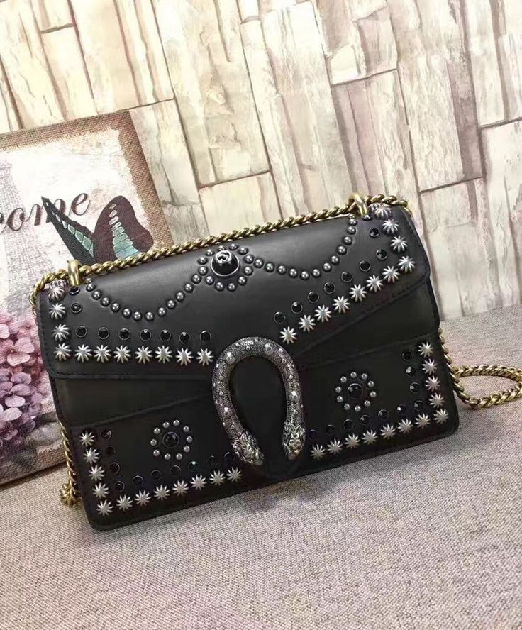 2017 Fashion Trend, Gucci Dionysus studded shoulder bag 400249 Black
