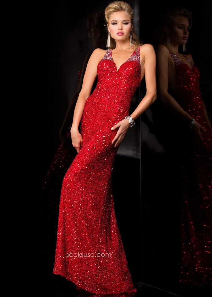 Scala 48411 Red Beaded Racerback Prom Gown Sexy Long Red Sequin Dress | 2015 Prom Collection ...