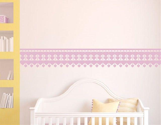 www.ebrevinil.com - Cenefas infantiles de pared en vinilo adhesivos Corazones 04393 - #vinilosinfantiles, #vinilos bebés, #vinilos niños