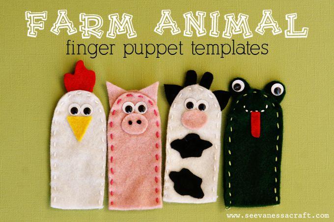 Marioneta dedo fieltro animales granja
