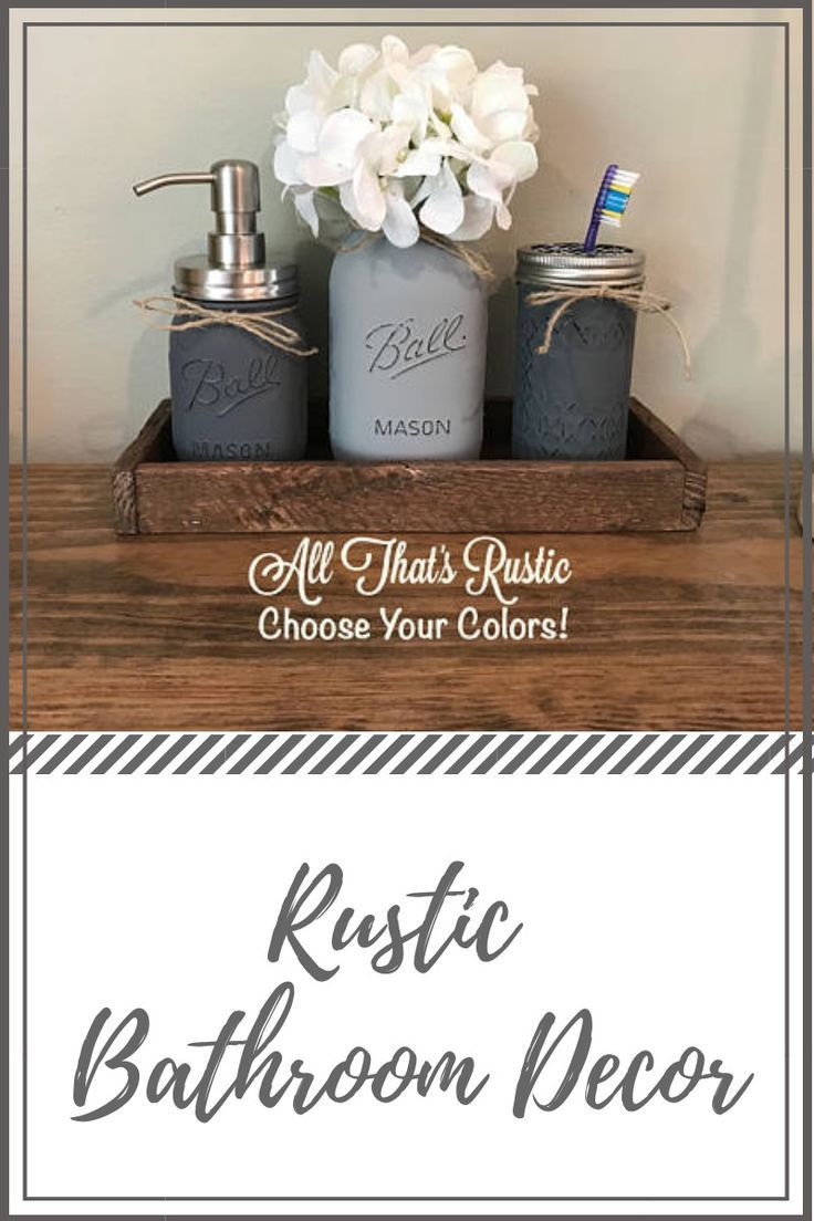 Looking for a unique, yet popular rustic bathroom decor? This  rustic  mason jar is perfect to give your bathroom decor appearance in style.  #farmhousedecor  #ad #bathroomdecor #rusticbathroomdecor #rusticmasonjar  #ad