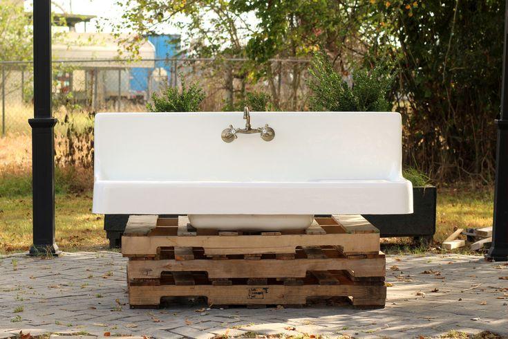 Antique Style Double Drainboard High Back Apron Cast Iron Porcelain Kitchen Farm Sink Package