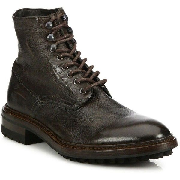 Frye Greyson Leather Ankle Boots (€405) ❤ liked on Polyvore featuring men's fashion, men's shoes, men's boots, apparel & accessories, dark brown, mens lace up boots, mens leather lace up shoes, mens lace up shoes, mens leather ankle boots and mens leather boots