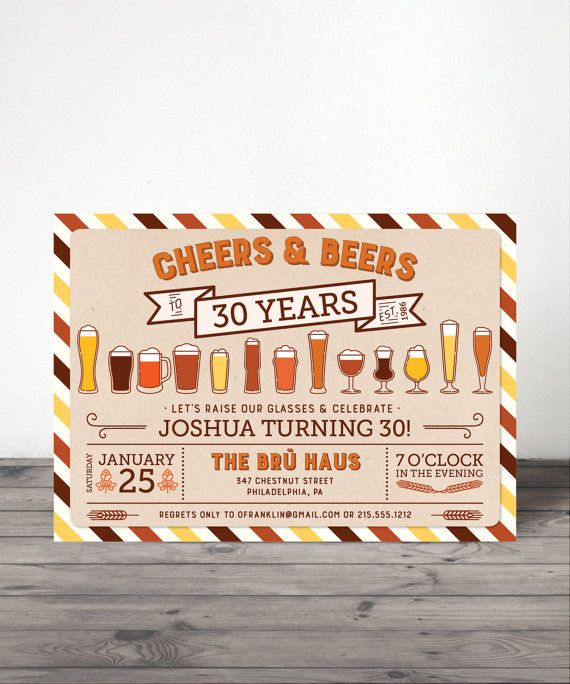 Any Age Cheers and Beers Birthday Invitation - 21st, 30th, 40th, 50th, 60th, Guy Surprise Birthday Party - Man - Beers and Cheers